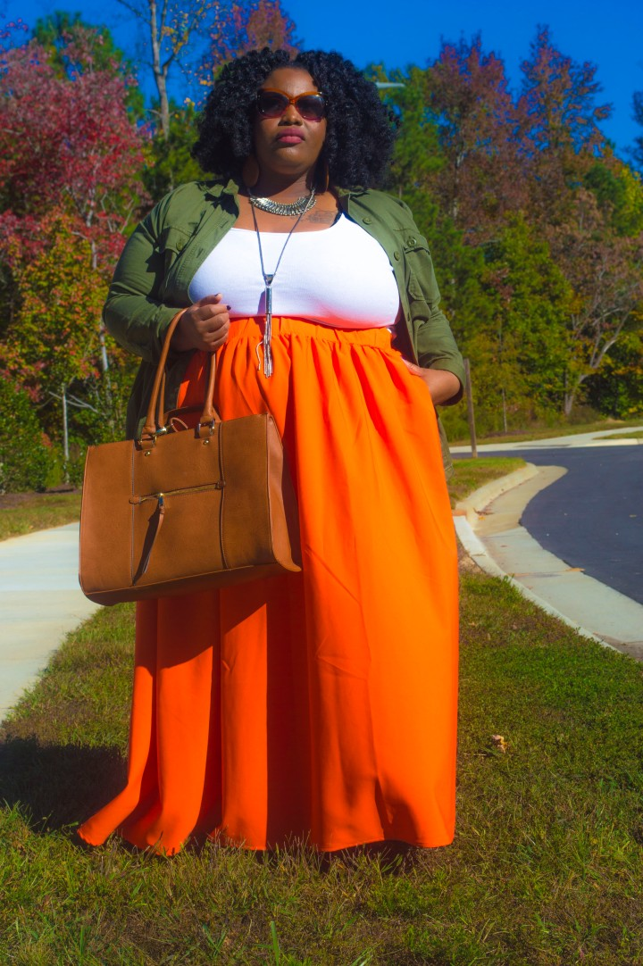 "alt=""orange maxi skirt"""